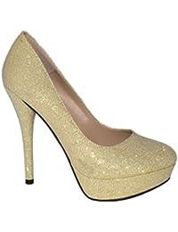 Elara Plateaupumps | Damen Glitzer Stiletto High Heels | Party Pumps