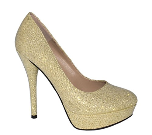 Elara Plateaupumps | Damen Glitzer Stiletto High Heels | Party Pumps Größe 37, Farbe Gold
