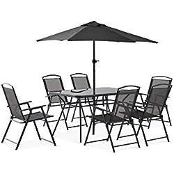Oviala Table de Jardin 6 Places et Parasol