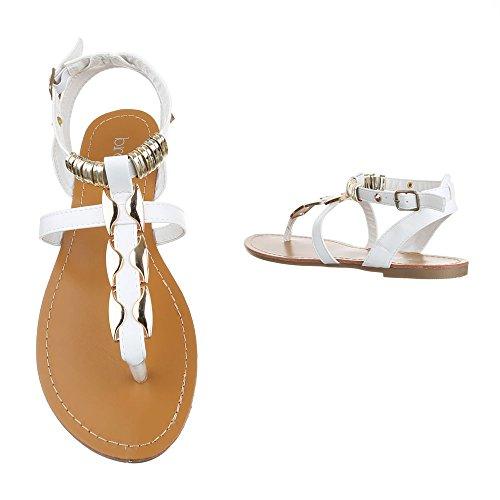 Zehentrenner Damenschuhe Peep-Toe Blockabsatz Zehentrenner Schnalle Ital-Design Sandalen / Sandaletten Weiß