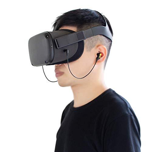 NEWZEROL 2 Packs Spezial Kopfhörer für Oculus Quest VR Zubehör Einzelohr Geflochtene Kopfhörer und Kopfhörer Tasche Kopfhörer Aufbewahrungstasche (Schwarz)