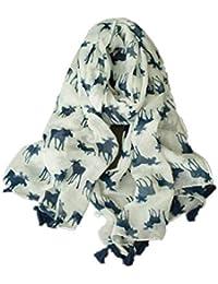 ZFFde Nuevo estilo Bufanda con estampado de alces, bufandas de algodón y lino con borlas para todas las estaciones