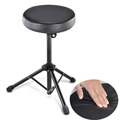 Wss - nero pieghevole sgabello doppio imbottito sedile per chitarra tastiera trono pianoforte sedia