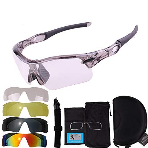 Hnks Fahrradbrille Farbe Radfahren Gläser The Sun Sports Mountain Bike Brillen und Schutzbrillen im Freien Ultraleichtes Rahmendesign für Männer und Frauen (Farbe : Grau)