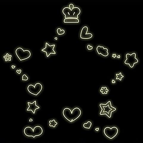 Ciondolo a forma di cuore stelle illuminazione notturna in pvc adesivo da parete vinile adesivo (Adesivo Star Shapes)