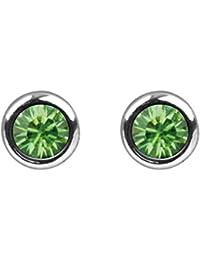 925 Sterling Silber Ohrstecker mit Swarovski Kristall Steinen in Peridot grün