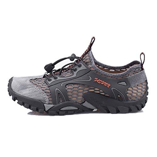 Flarut Sandali Sneakers Sportivi Estivi Uomo Trekking Scarpe da Spiaggia All'aperto Pescatore Piscina Acqua Mare Escursionismo Leggero(Grigio,43)