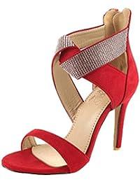 SHOWHOW Damen Strass Cross Offene Zehe Riemchen Stilettos Sandaletten