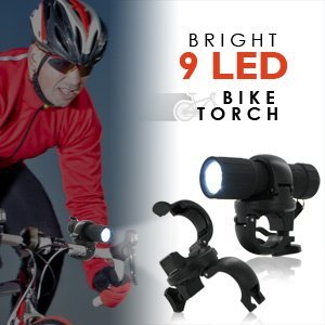 1 X Bright 9 LED Bike Torch - Weatherproof Bicycle Headlight by Camelion Battery