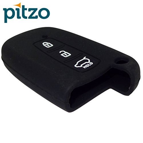 PITZO Car Silicone Key Cover Suitable with Hyundai Verna Fluidic/Old i20 /  Elantra/Santafe [Push Button Start] for 3 Button Remote Smart Key | Car