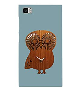 PrintVisa Owl Wooden Clock 3D Hard Polycarbonate Designer Back Case Cover for Xiaomi Redmi Mi3