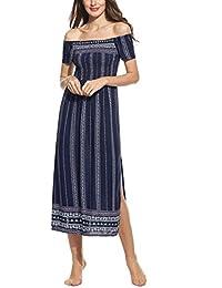 7dd2754e3335 Zeagoo Damen Elegant Sommerkleid Strandkleid Maxikleid Schulterfrei Boho  Kleid mit Schlitz Langes…