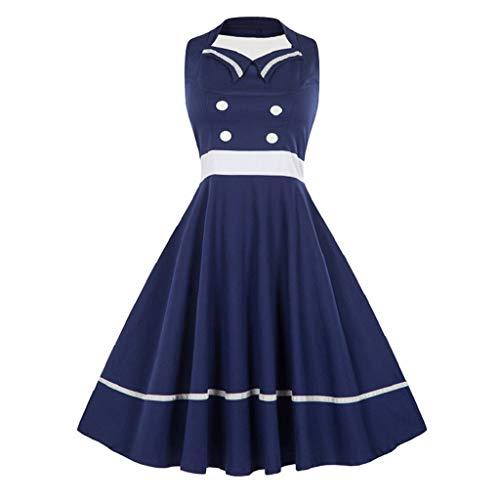 Soupliebe Mode Frauen Plus Größe GroßE Schaukel Kleid Retro Ärmellose Vintage Halfter Kleid Abendkleider Cocktailkleid Partykleider Blusenkleid