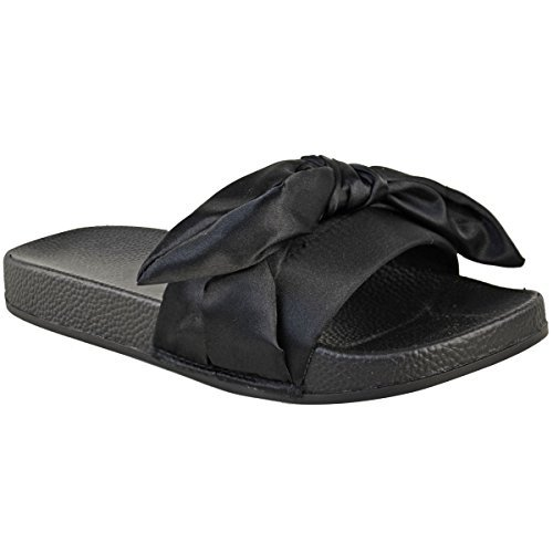 Donna comodo basse fiocco passanti satin sposa matrimonio pantofole sandali taglia - nero satinato, 39