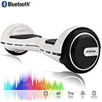 CHIC 6.5 Inch Balance Board Self Balancing Electric Scooter Skateboard Wheels with LED Light Motor 700W Bluetooth for Kids and Adults White