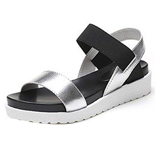 OHQ Muffin Bouche Poisson avec Sandales Confortables pour Femmes Argent Noir Blanc D'éTé Chaussures Peep Toe Basses Romaines Dames Tongs Plates Cuir