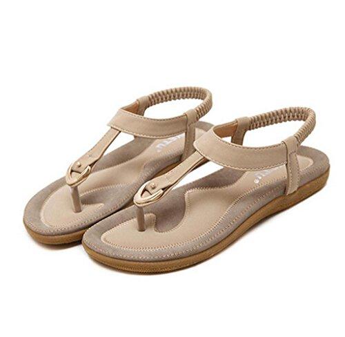 Amcool Damen Sandalen Zehentrenner Sommer indoor & outdoor Lässige Flache Schuhe Beige