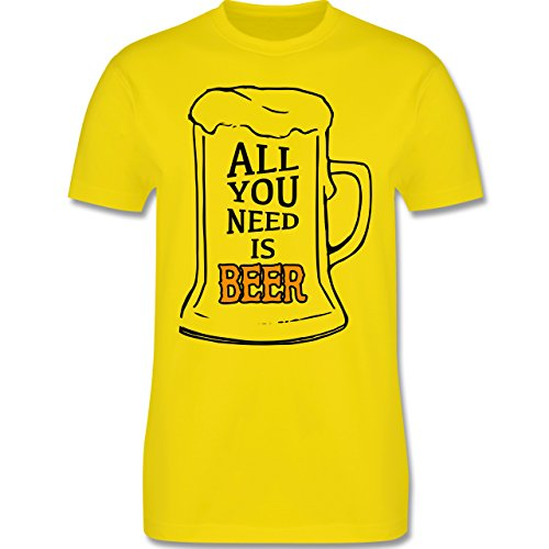 Oktoberfest Herren - All you need is beer - Herren Premium T-Shirt Lemon Gelb