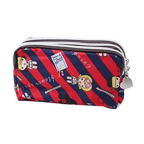 Hengxing Tragbare Reisebrieftaschen Smartphone Wristlets Tasche Kosmetiktasche Kartenhalter Mit Gurt, Rote und blaue Streifen