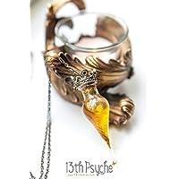 Collier de bouteille de potion d'or. collier de fiole de potion magique blanc, collier de fantaisie, pendentif de potion d'or, cadeau femmes, bijoux de conte de fées, harry potter, felix felicis