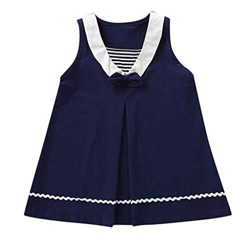Kinder Kampf Marine Kostüm - Livoral Baby Madchen Kleidung Kleinkind-Kind-Baby-Fliegen-gestreifter zufälliger Prinzessin Dress Beach Skirt(Marine,90)