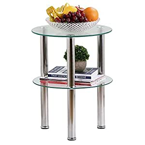 Chinkyboo living room round glass side table chrome finish - Glass side tables for living room uk ...