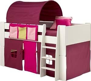 Steens Lit cabane avec tunnel, tente et vide-poches pour fille Blanc/rose