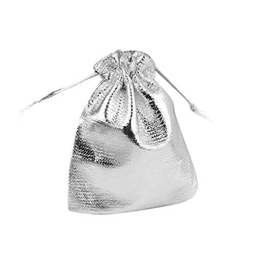 Kcopo Schmuck Beutel Säckchen Drawstring Tasche Geschenk Taschen Für Weihnachten Hochzei Festival Party Favor Geschenke Süßigkeiten Taschen 9 * 12cm Silber 25 Stück