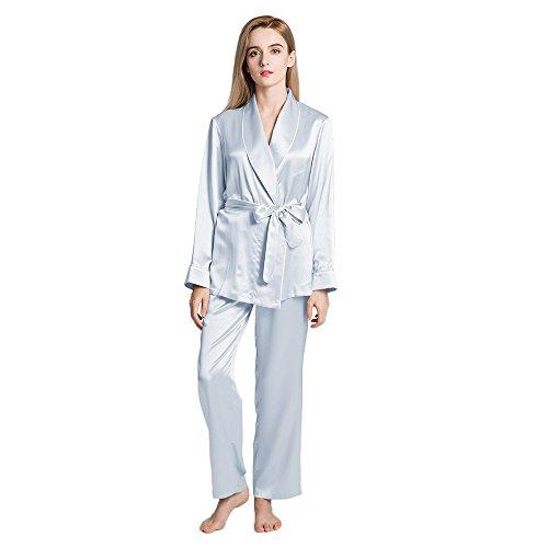 Asiatische Weiße Paare Kostüme (LULUSILK Damen 22 Momme Seide Schlafanzug Pyjama Set mit Gürtel, Himmelblau,)