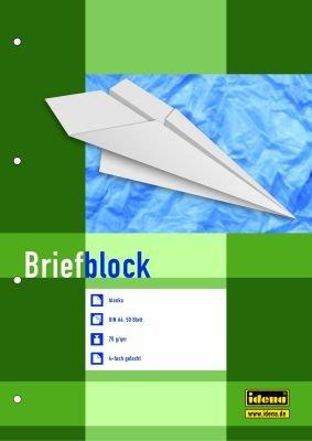 Idena Briefblock DIN A4, 4-fach gelocht, 70g/m², 50 Blatt (5er Spar-Pack, blanko)