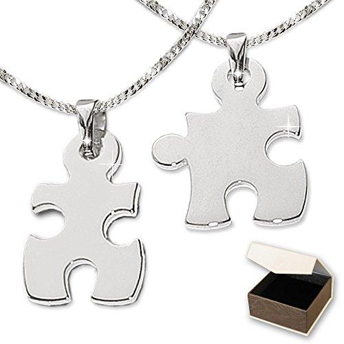 clever-schmuck-set-silberne-partneranhnger-2-puzzleteile-geteilt-glnzend-mit-2-ketten-panzer-42-und-