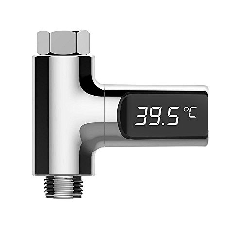 Nacatin LED Termometro Digital de Ducha para Bebe, con Pantalla Impermeable y Preciso Sensor Temperatura del Agua sin Batería, 360° Rotación