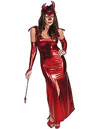 WWANGYU Señoras Halloween Cosplay Cosplay Traje Uniforme Noche Tienda DS  Rojo Charol Falda Cuerno Demonio Disfraz ead8ec49444e