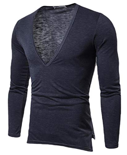 dahuo Herren Stretch T-Shirt Deep V-Neck Tee Muscle Slim Fit Long Sleeve Top Gr. M, 1 -