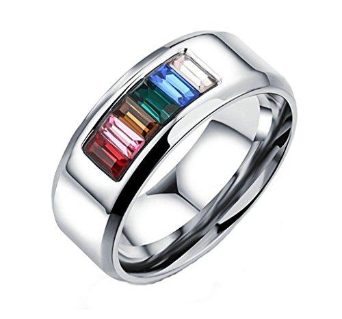 KNSAM Anillo Acero Inoxidable Titanio, Gay Lesbiana Anillo Compromiso Plata Arco Iris Rainbow con Cristal para Amor Size 10