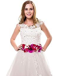 Ever Fairy moda flor cinturones para mujer niña dama de honor vestido de satén cinturón boda