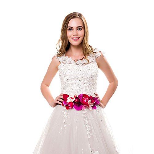 d044d0385ad0 Ever Fairy moda flor cinturones para mujer niña dama de honor vestido de  satén cinturón boda