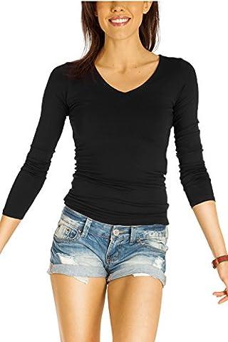Bestyledberlin Damen Shirt, V-Ausschnitt Damenoberteile, Stretch Longshirt, Langarm Tops t31p schwarz