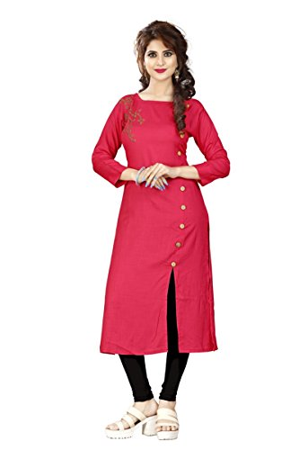 Sukhvilas Red Rayon Women's Long Kurti (X-Large)