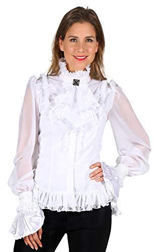 Das Kostümland Jabot Bluse mit Rüschen für Damen - Weiß Gr. XL