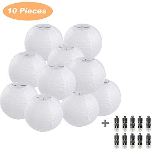 (10er Papierlaterne 25cm weiß Lampions + 10er Warmweiße Mini LED-Ballons Lichter, rund Lampenschirm Hochtzeit Party Dekoration Papierlampen 10