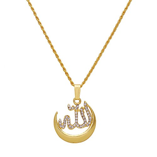 Dzinetrendz Gold plated Half moon crescent with Allah word CZ studded chain...
