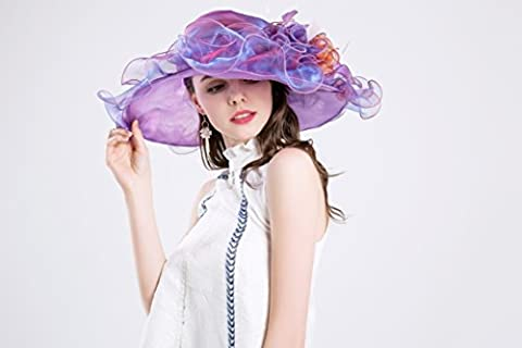 Woman Kentucky Derby Sun Hat Flower Wide Edge Gauze Hat Headdress (Purple)