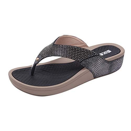 PRINCER Ladies Faux Leather Open Toe Sling Back T-Bar Gem Stone Flat Gladiator Summer Sandals Flip Flop Surf Sandals New Summer Flat Beach Shoe
