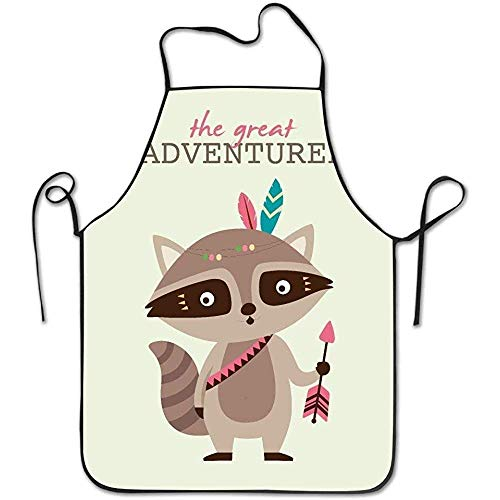 ouyjian Restaurant Aprons Tribal Cartoon Animals The Adventure Raccoon Funny Cooking Apron for Men Women - BBQ Grill Kitchen Chef Barbecue Gifts, One Size Fits Most