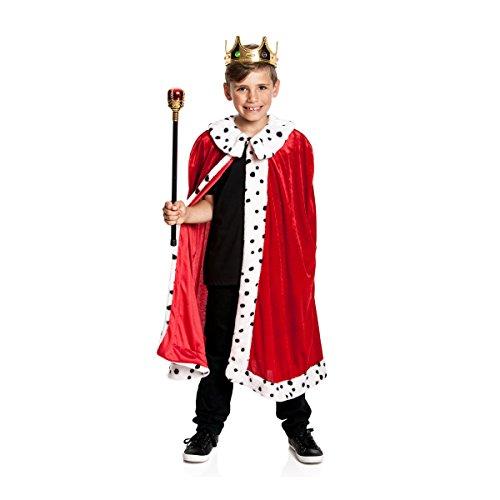 Kostümplanet® König-Kostüm Kinder Königskostüm Kaiser Umhang Mantel Größe 116