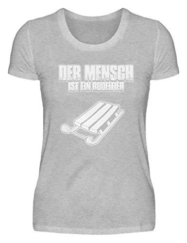 shirt-o-magic Rodel Schlitten: Mensch = Rodeltier - Damenshirt -XXL-Grau (Meliert)
