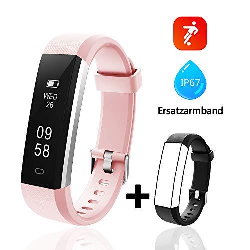 Lintelek Fitness Armband Aktivitätstracker IP67 Wasserdicht Schrittzähler Armbanduhr Smartwatch, Fitness Uhr Kalorienzähler für Damen Herren (Rosa+Schwarz)