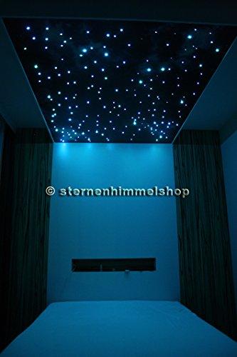 RGB LED Sternenhimmel Komplett Set MIT SPRÜHKLEBER: 240 Lichtfaser + Fernbedienung & Netzteil mit Stecker ODER zum Direktanschluss an Stromleitung + Sprühkleber- 16 Farben - 5 Watt - dimmbar mit Memory Funktion - 2 Jahre Garantie - Modell Corona Star IR von Sternenhimmelshop