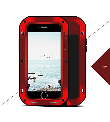 iPhone 8 Plus (5.5 inch) Métal Coque, Love Mei Armor Tank Hybrid Coque, Housse, Cover, de protection en Antichoc Anti-poussière Etui Housse Couverture antichoc / antipoussière / Métal Aluminium Housse Rouge